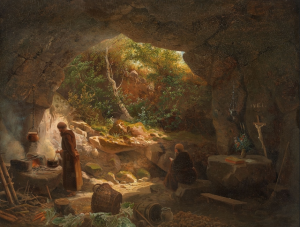 Two Hermits in a Rock Cave - Unknown German Artist, wholly unconcerned with page life expectancy.  What a life!