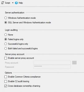 Server Properties Dialog Box showing Security Tab